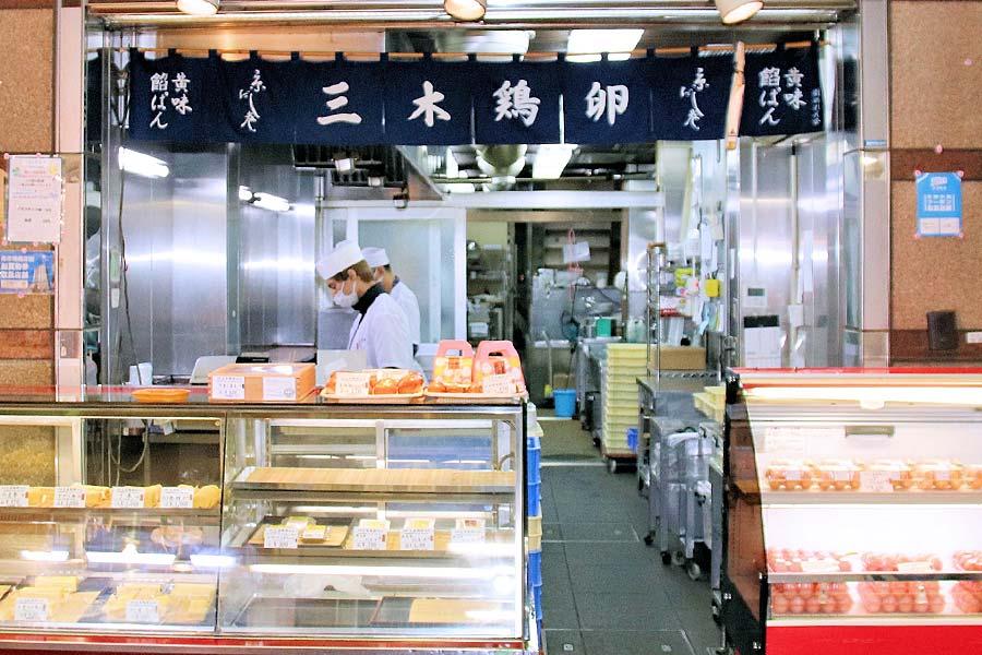伝統の職人技で巻き上げた『京風味だし巻 かやく巻』 カニ身や三つ葉など具沢山。(約2~3人前)錦市場,  だし巻き玉子【三木鶏卵】